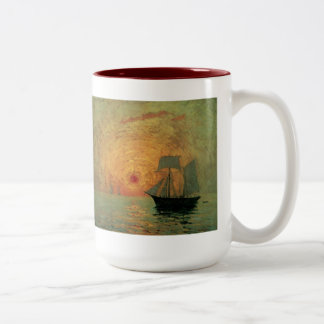 Vintage Impressionism, Red Sun by Maxime Maufra Two-Tone Coffee Mug