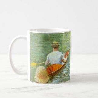 Vintage Impressionism, The Canoes by Caillebotte Basic White Mug