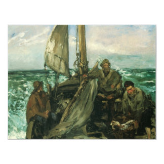 Vintage Impressionism, Toilers of the Sea by Manet 11 Cm X 14 Cm Invitation Card