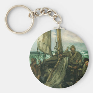 Vintage Impressionism, Toilers of the Sea by Manet Basic Round Button Key Ring