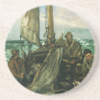 Vintage Impressionism, Toilers of the Sea by Manet Beverage Coasters