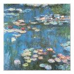 Vintage Impressionism, Waterlilies by Claude Monet 13 Cm X 13 Cm Square Invitation Card