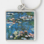 Vintage Impressionism, Waterlilies by Claude Monet Silver-Colored Square Key Ring