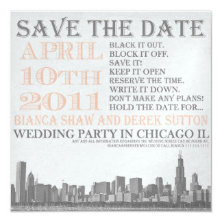 Vintage in Chicago 13 Cm X 13 Cm Square Invitation Card