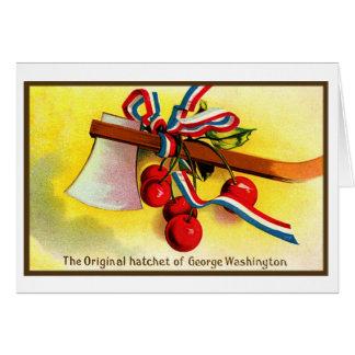 Vintage Independence Day George Washington Hatchet Greeting Card