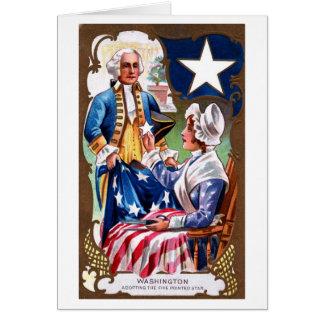 Vintage Independence Day Washington & Flag Card