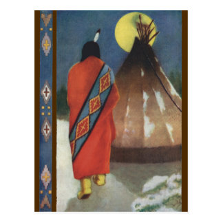 Vintage Indian and Teepee Postcard