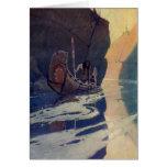 Vintage Indian Canoe Paddling with Sun Symbol