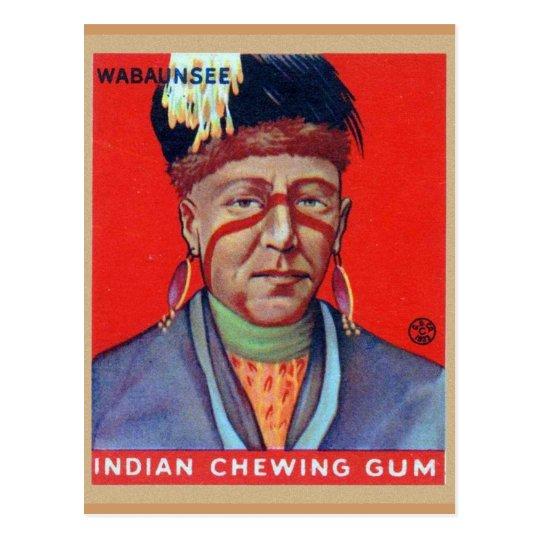 Vintage Indian Chewing Gum Chief Wabaunsee Postcard
