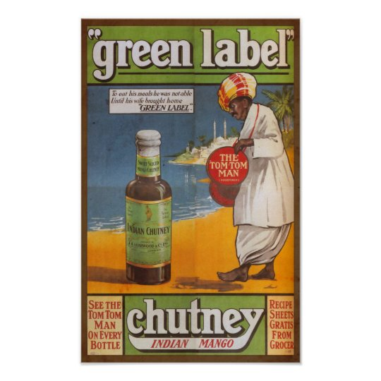 Vintage Indian Chutney Sauce Food Advert Poster