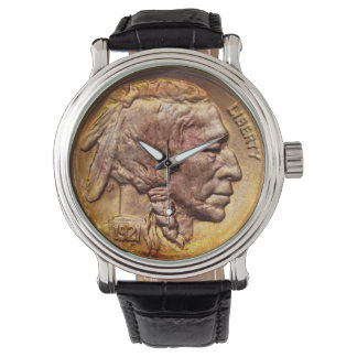 Vintage Indian Head Nickel Coin Native American Watch