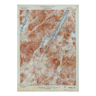 Vintage Indian Lake New York Topographical Map Poster
