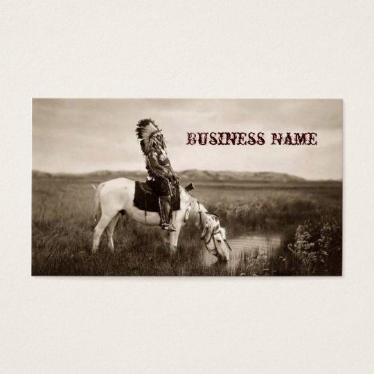 vintage Indian on Horseback Business Cards