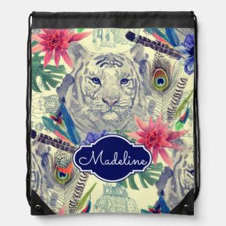Vintage Indian Style Tiger Pattern | Add Your Name Drawstring Bag
