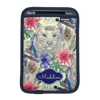 Vintage Indian Style Tiger Pattern | Add Your Name iPad Mini Sleeve