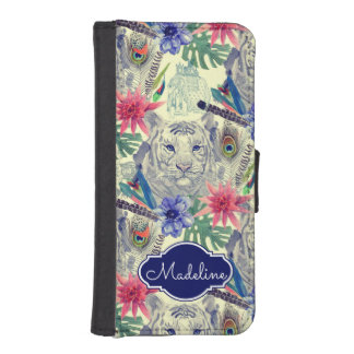 Vintage Indian Style Tiger Pattern | Add Your Name iPhone SE/5/5s Wallet Case