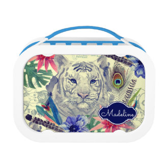 Vintage Indian Style Tiger Pattern | Add Your Name Lunchbox