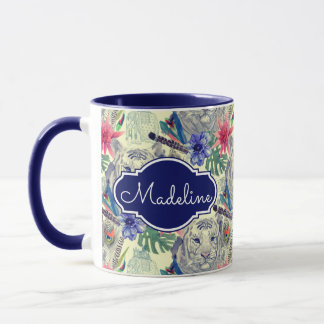 Vintage Indian Style Tiger Pattern | Add Your Name Mug
