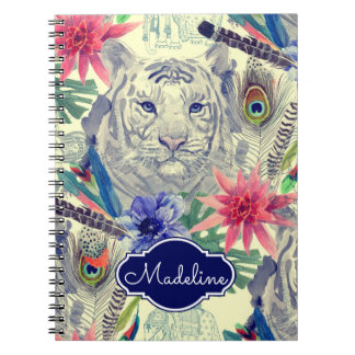 Vintage Indian Style Tiger Pattern | Add Your Name Notebook
