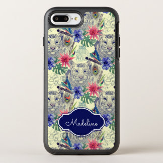 Vintage Indian Style Tiger Pattern | Add Your Name OtterBox Symmetry iPhone 7 Plus Case
