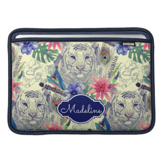 Vintage Indian Style Tiger Pattern | Add Your Name Sleeves For MacBook Air