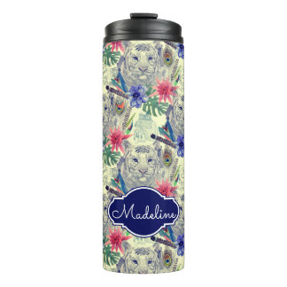 Vintage Indian Style Tiger Pattern | Add Your Name Thermal Tumbler