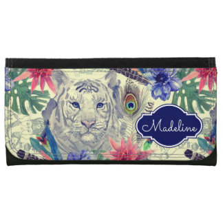 Vintage Indian Style Tiger Pattern | Add Your Name Wallets