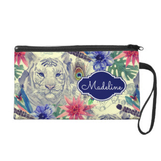 Vintage Indian Style Tiger Pattern | Add Your Name Wristlet