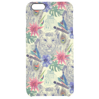 Vintage Indian Style Tiger Pattern Clear iPhone 6 Plus Case