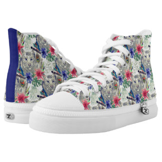 Vintage Indian Style Tiger Pattern High Tops