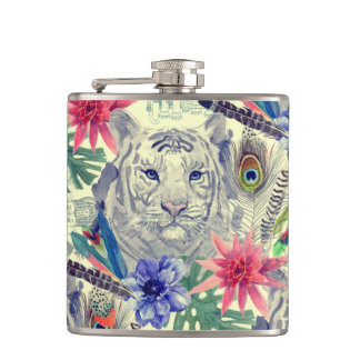 Vintage Indian Style Tiger Pattern Hip Flask