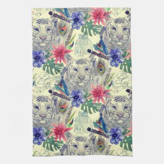 Vintage Indian Style Tiger Pattern Tea Towel