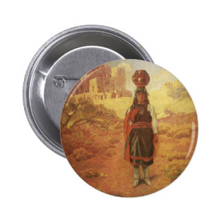 Vintage Indian Water Carrier by EW Rollins 6 Cm Round Badge