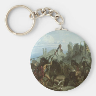 Vintage Indians, Bison Dance by Karl Bodmer Basic Round Button Key Ring