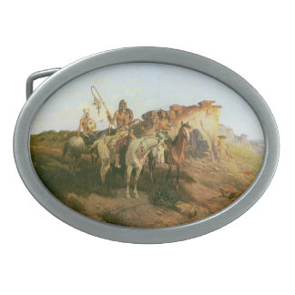 Vintage Indians, Prowlers of the Prairie, Seltzer, Oval Belt Buckles
