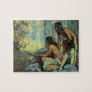 Vintage Indians, Taos Turkey Hunters by Couse Puzzle