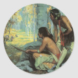 Vintage Indians, Taos Turkey Hunters by Couse Round Sticker