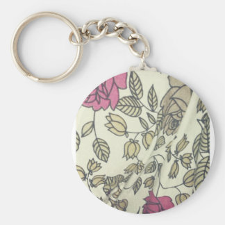 Vintage Indie Rose-print phone covers Basic Round Button Key Ring