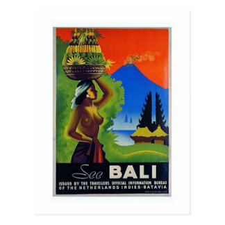 Vintage Indonesia Bali Travel Poster Postcard