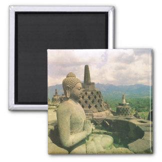 Vintage Indonesia, Borobodur Buddhist temple Square Magnet