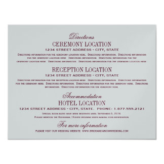 Vintage Information Cards   Burgundy and Silver 11 Cm X 14 Cm Invitation Card
