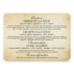 Vintage Information Cards | Rustic Elegance Custom Invites