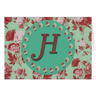 Vintage Initial H Greeting Card