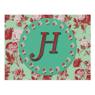 Vintage Initial H Postcard