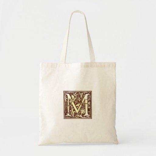 Vintage Initial M Tote Bags