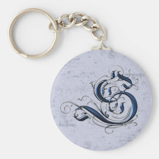 Vintage Initial S Basic Round Button Key Ring