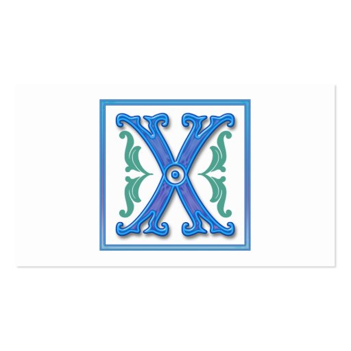 Vintage Initial X - Letter X Business Card Templates