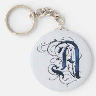 Vintage Initials A Basic Round Button Key Ring