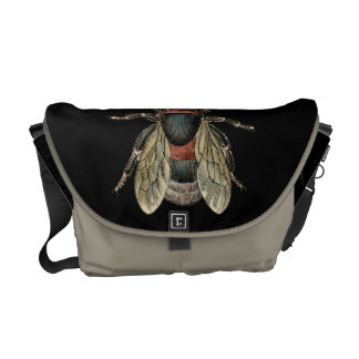 Vintage Insect Bee illustration -Messenger Bag Messenger Bags