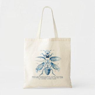 Vintage Insect | Entomology | Beetles | Blue Budget Tote Bag